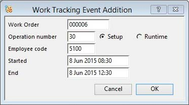 Work Tracking Event Addition