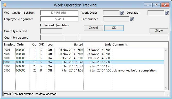Work Operation Tracking