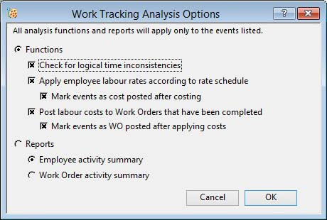 Work Tracking Analysis Options