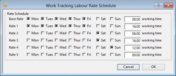 Work Tracking Labour Rate Schedule