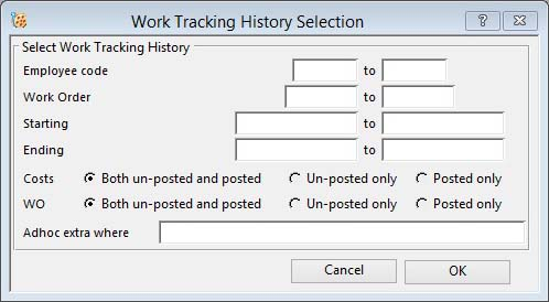 Work Tracking History Selection